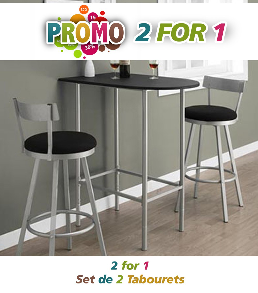tabouret de bar 2pcs 43 h pivotant argent bar et. Black Bedroom Furniture Sets. Home Design Ideas