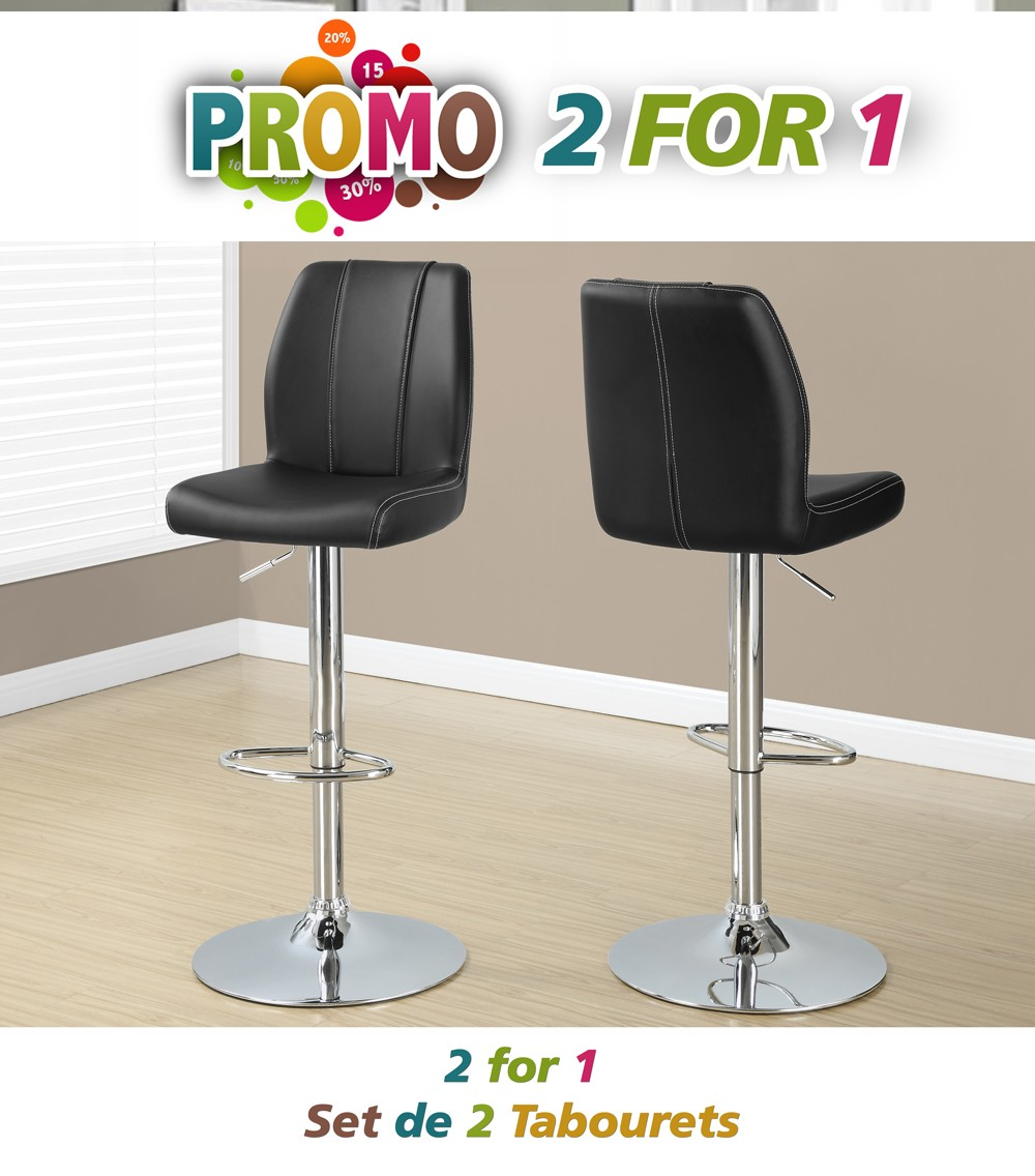 tabouret de bar 2pcs noir metal chrome hydraulique. Black Bedroom Furniture Sets. Home Design Ideas