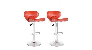 Tabourets moulants ajustables, similicuir rouge-Ensemble de deux