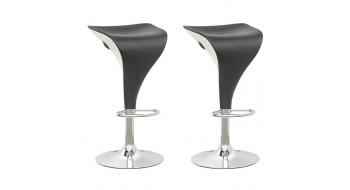 Tabourets ajustables noir et blanc-Ensemble de deux