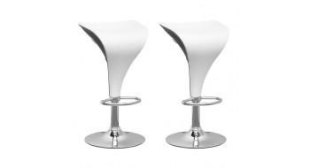 Tabourets ajustables blanc et noir-Ensemble de deux