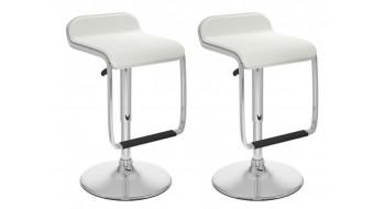 Tabourets ajustables avec repose-pied en similicuir blanc-Ensemble de deux