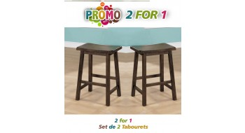 "TABOURET DE BAR - 2PCS / 24""H /  SIEGE EN SELLE NOYER"