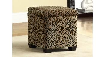 Pouf D'entreposage Tissu Leopard