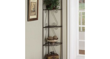 ETAGERE DECORATIVE DE COIN 70″H METAL CUIVRE