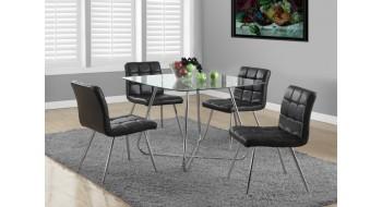 Deux chaises 32″H en metal chrome \ simili-cuir noir