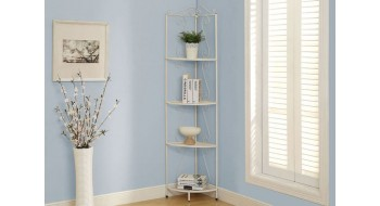 ETAGERE DECORATIVE DE COIN 70″H MARTELE BLANC