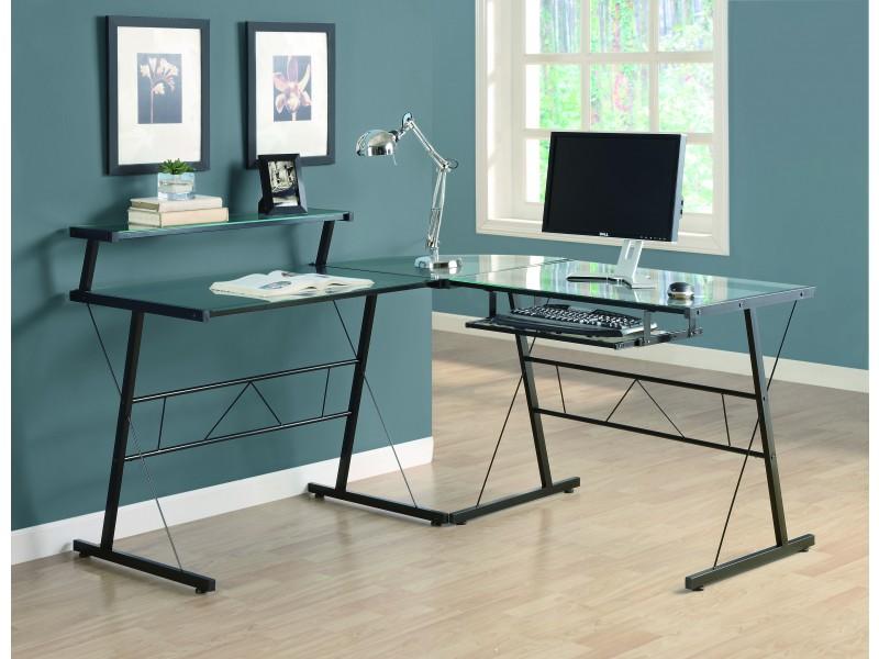 bureau ordinateur en l verre tremp pool tables tables de billard pool. Black Bedroom Furniture Sets. Home Design Ideas