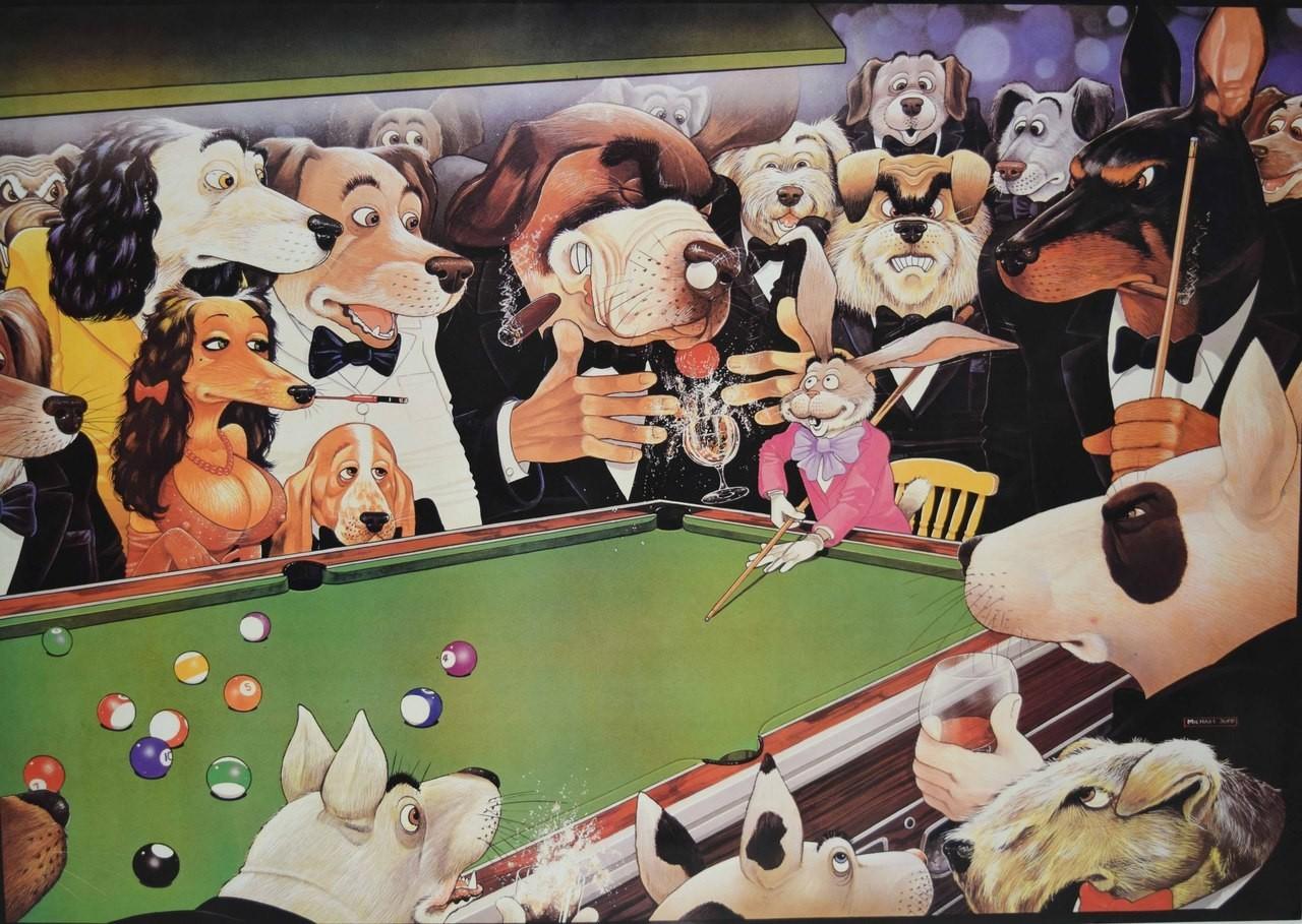 Billiard Poster dogs