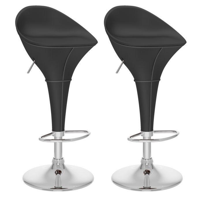 Tabourets ajustables Round Style en similicuir noir-Ensemble de deux