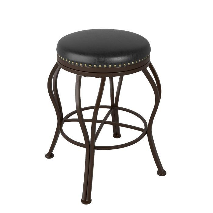 """Tabouret Bar Metal avec siège pivotant en cuir brun foncé 25"""""""