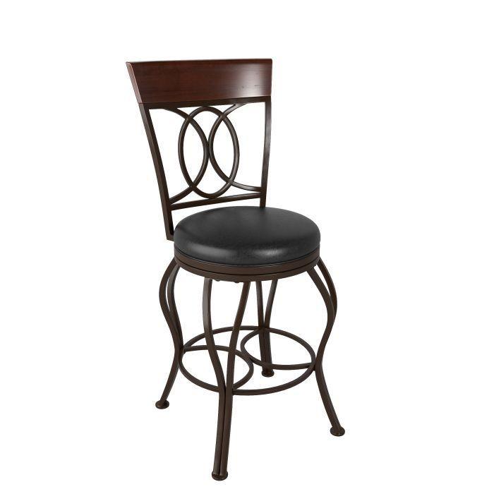 """Tabouret Bar Metal avec siège pivotant en cuir brun foncé 42"""""""