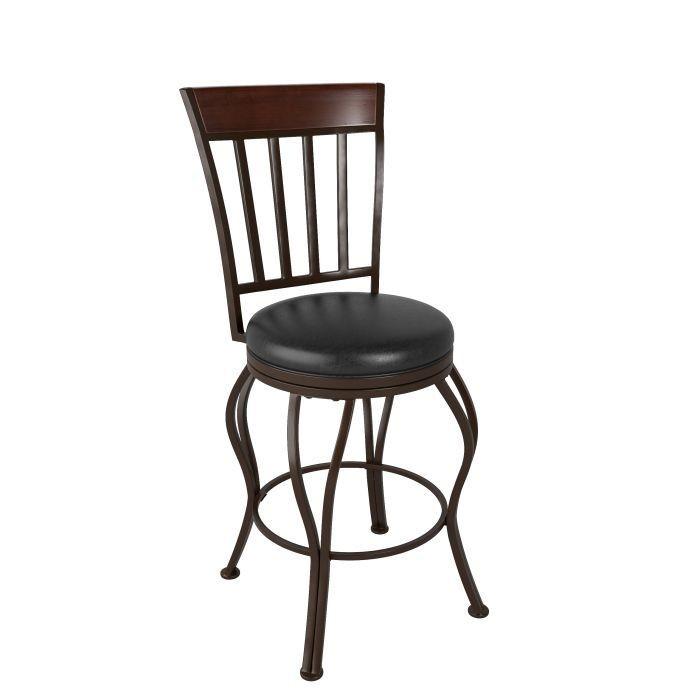 """Tabouret Bar Metal avec siège pivotant en cuir brun foncé 40"""""""