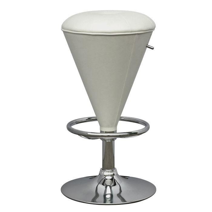 Tabouret conique ajustable en similicuir blanc