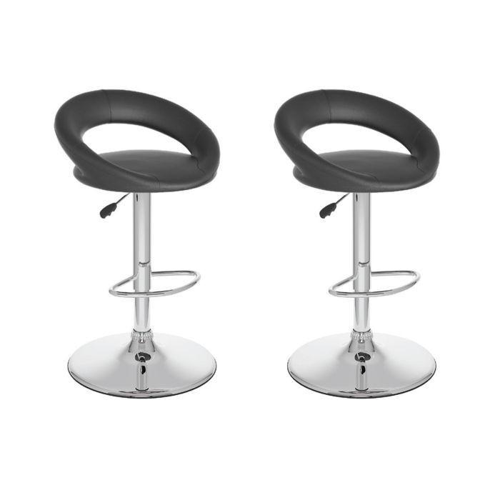 Tabourets ajustables à dossier rond et ouvert en similicuir noir - Ensemble de deux