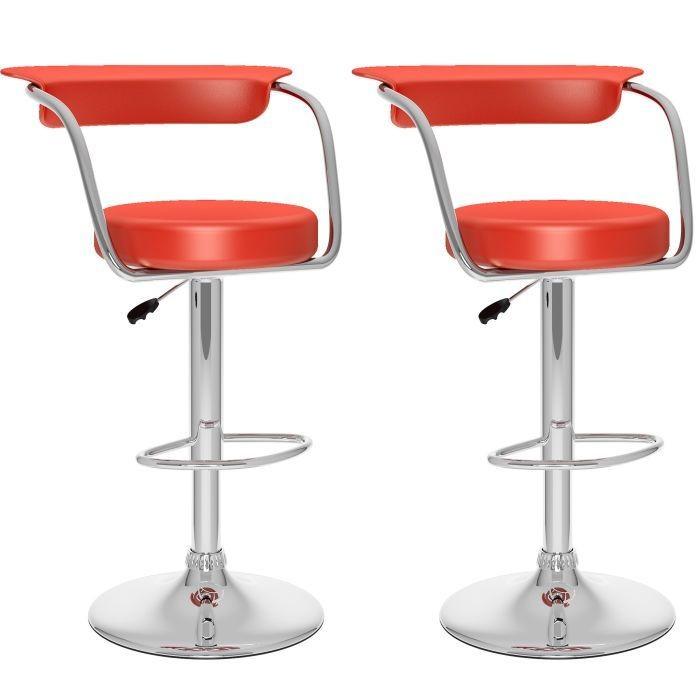 Tabourets ajustables à dossiers ouvert en similicuir rouge - Ensemble de deux