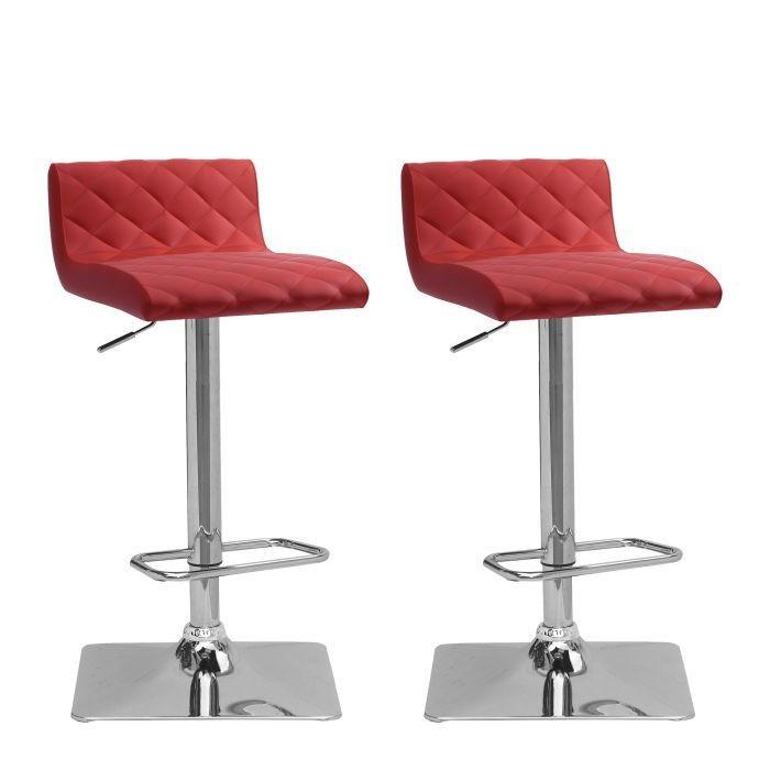 Tabourets ajustables pivotant en similicuir rouge - Ensemble de deux