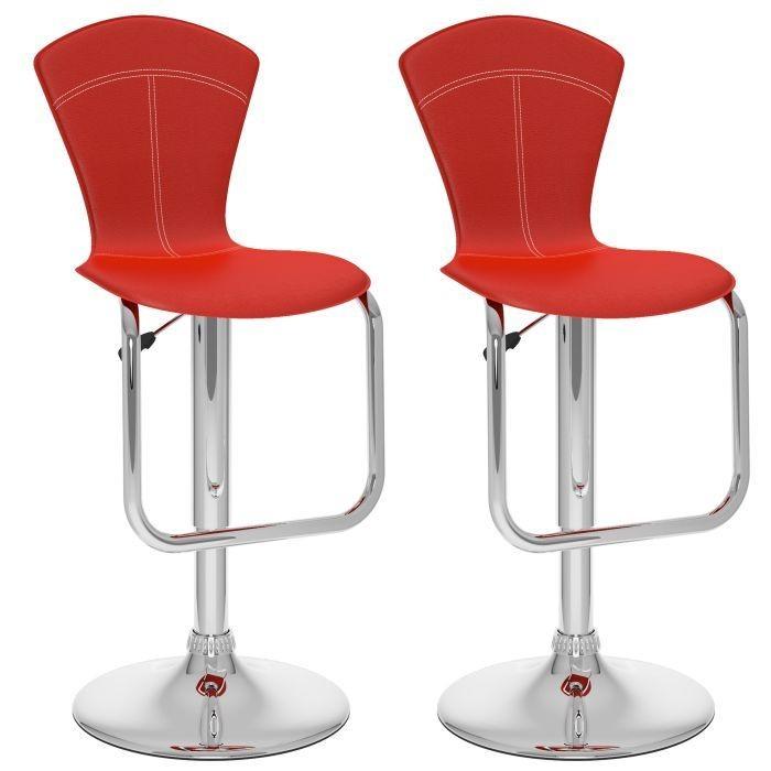 Tabourets ajustables à dossier conique complet, similicuir rouge - Ensemble de deux