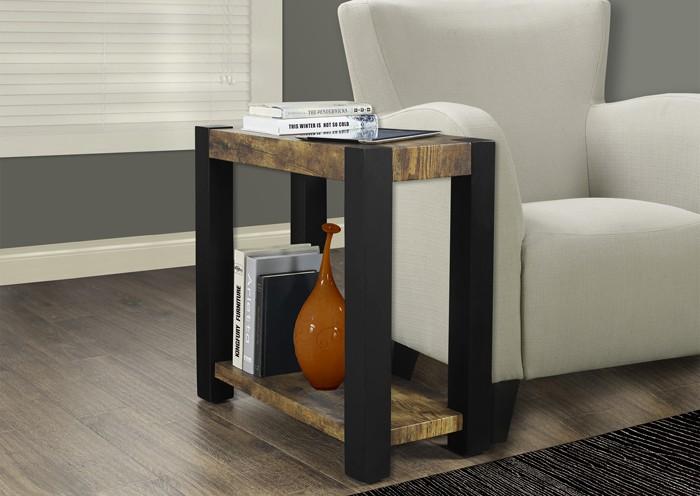 TABLE D'APPOINT NOIR / STYLE VIEUX BOIS VIEILLI