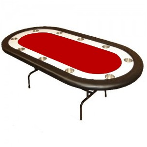 Table de Poker Monaco avec pattes pliantes rouge
