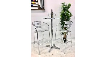 Ensemble de bar table ronde Argenté Aluminium