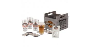 Harley-Davidson Preluxe Oil Can Set de verre/caisse de pinte