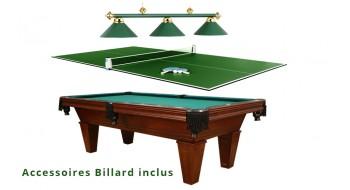 Table Billard 8p usagée avec top ping pong, lampe et  tous les accessoires
