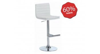 TABOURET DE BAR BLANC METAL CHROME HYDRAULIQUE