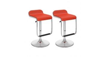 Tabourets ajustables avec repose-pied en similicuir rouge-Ensemble de deux