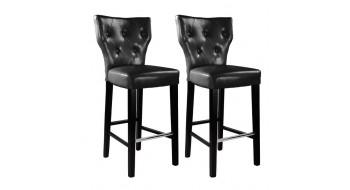 Tabourets de bar King en cuir reconstitué couleur noir - Ensemble de deux