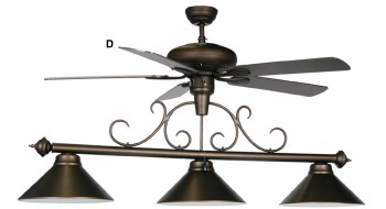 "58"" 3 LT BILLIARD LIGHT-WHITE FAN"