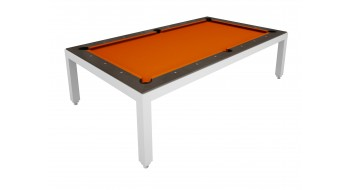 Table Diner Billard Fusion Table laquee blanche 7p