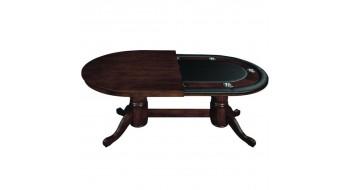 Table Pocker et diner 84'' en bois Cappuccino avec dessus diner