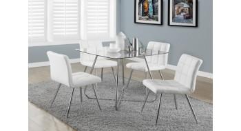 Deux chaises 32'' en metal chrome et simili cuir blanc