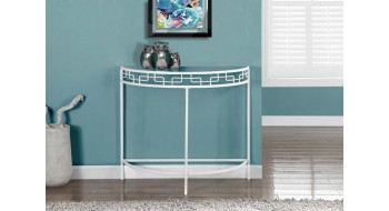 TABLE CONSOLE D'ENTREE D'APPOINT 36″L METAL BLANC