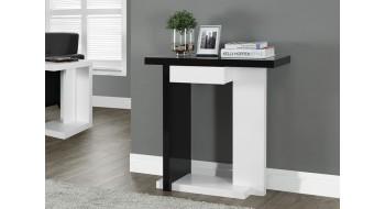 TABLE CONSOLE D'APPOINT 32″L BLANC LUSTRE / NOIR