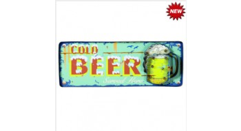METAL SIGN-COLD BEER (BLUE)
