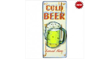 METAL SIGN-COLD BEER (WHITE)